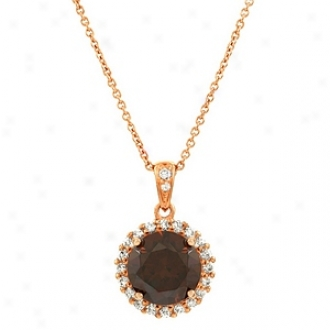 Emitations Edna's Cz Pendant Necklace Rose Gold Hued, Chocolate