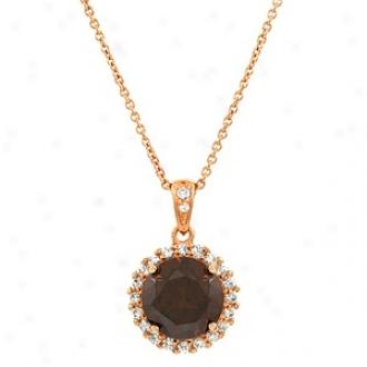Emitations Edna's Cz Pendant Necklace Rose Gold Hued, Chocolate