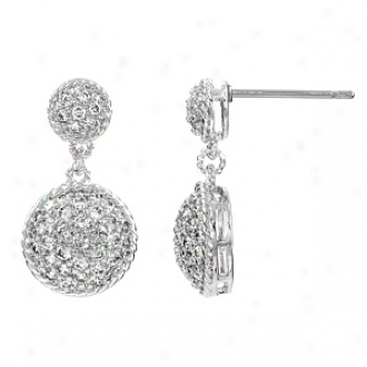 Emitations Eponine's Pave Cz Circle Dangle Earrings, Silver Tone