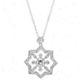 Emitations Evan's Cz Vintage 8 Point Star Pendant Necklace, Silver Tone
