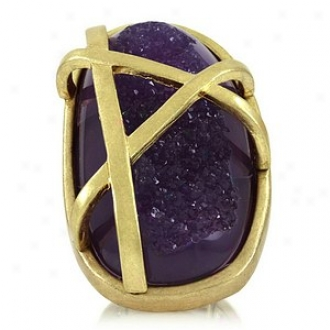 Emitations February's Acrylic Statement Stretch Ring, Purple