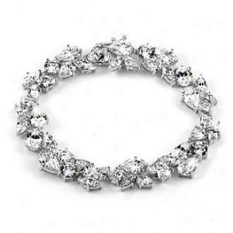 Emitations Felice's Cz Fancy Tennis Bracelet, Silver Toone