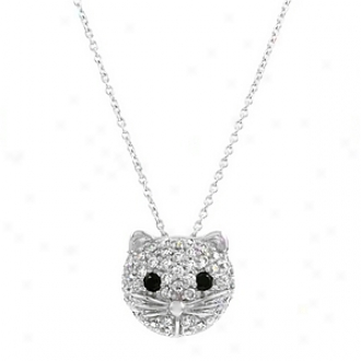 Emitations Gretta's Cz Diamond Cat Face Necklace, Silver Tone