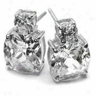 Emitations Harlowe.s 5.5 Tcw Cushion Cut Earrings, Silver