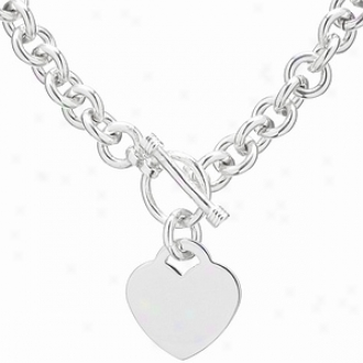 Emitations Heart Charm Toggle Necklace, 18 Inches Long, Silver