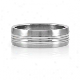 Emitations Jasper's Narrow Groobed Men's Stainless Steel Ring, 12