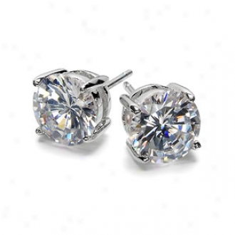 Emitations Jessica's Cz Prong Stud Earrings 1.5 Tcw, Silver
