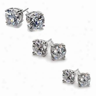 Emitations Jessica's Cz Stud Earrings Bundle, 1.5 Tcw, 2.5 Tcw, 4 Tcw, Silver