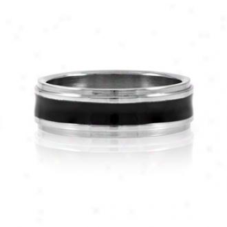 Emitations Joe's Black Enamel Men's Stainless Steel Ring, 12