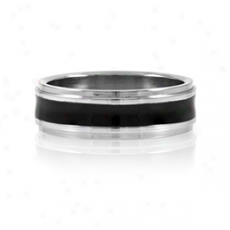Emitations Joe's Black Enamel Men's Stainless Steel Ring, 14
