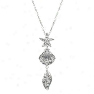 Emitations July's Beach Dreaming Cz Necklace, Silver Tone