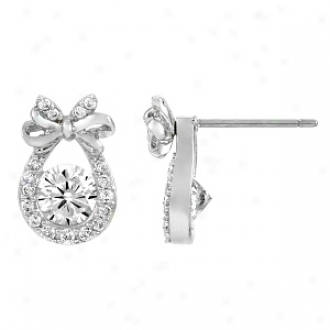 Emitwtions Juno's Cz Bow Knob Earrings - .5 Ct, Silver Tone