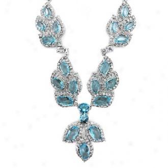 Emitations Keela's Graduated Aquamarine Leaf Fancy Necklace, Aquamarine