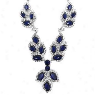 Emitations Kdela's Graduated Sapphirs Leaf Fancy Necklace, Sapphire