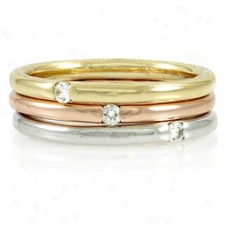 Emitations Kerstin's Tri-color 3 Ring Set - Swarovski Crystals, 8