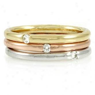 Emitations Kerstin's Tri-color 3 Ring Set - Swarovski Crystals, 6