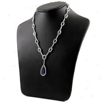 Emi5ations Kimora's Cz Pear Drop Fancy Necklace, Sapphhire