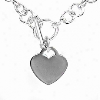Emitations Legally Blonde Heart Charm Necklace 18 In Medium Gauge, Silver