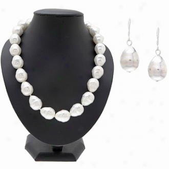 Emitations Lila's 16 Mm Baroque Pearl Set, 18 Inches Long, White