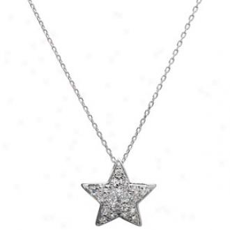 Emitations Lrya's Cz Star Pendant, 16 , Silver