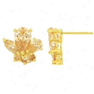 Emitations Macrae's Cz Cluster Earrings Gold Plated, Champagne