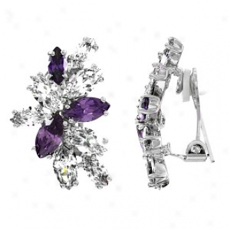 Emitations Magda's Lavender And Acquit Cz Clip-on Earrings, Lavender
