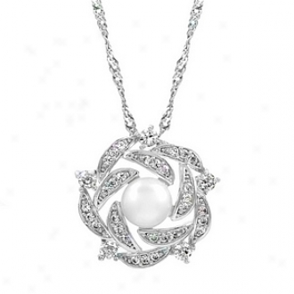 Emitations Maisey's Cz & Pearl Woven Cluster Pendant Necklace, Silver Tone