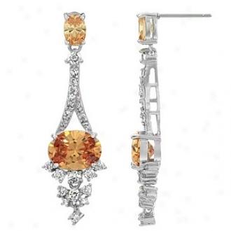 Emitations Makana's Cz 3ct Fancy Dangle Earrings, Champagne