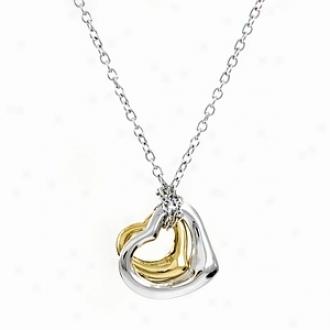 Emitations Makena's Designer Inspired Double Heart Necklace, Gold And Silfer