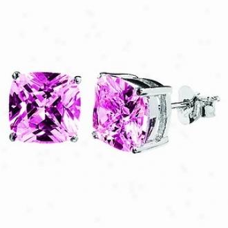 Emitations Megan's 5 Tcw Cushion Cut Cz Diamond Stud Earrinvs, iPnk