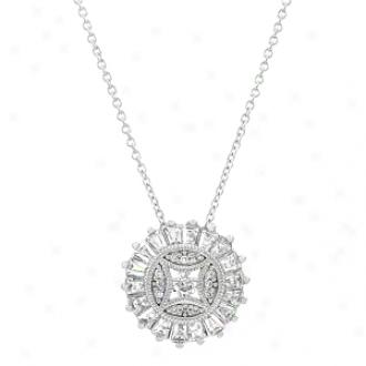 Emitations Mika's Baguette Cut Cz Pendant Necklace, Silver Tone