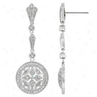 Emitatipns Milan's Cz Art Deco Dangle Earirmgs, Silver Tone