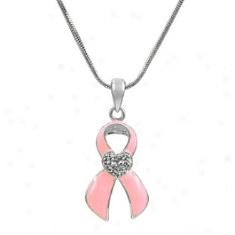 Emitations Mimi's Ribbon Breast Cancer Awareness Necklace And Bookmark Set, Pink