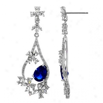 Emitations Mirabella's1 .5ct Cz Pear Cut Fzncy Dangle Earrings, Sapphire