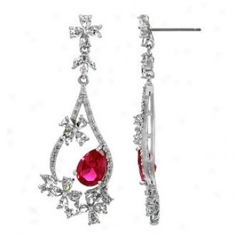 Emitations Mirabella's 1.5ct Cz Pear Cut Fancy Dangle Earrings, Ruby