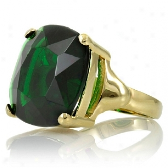 Emitations Morgan's Faux Emerald Ring Gold Plated Ring, 10