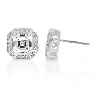 Emitatiobs Nessa's Asscher Cut 1.5 Ct Cz Stud Earrings, Silver Tone