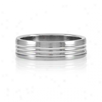 Emitations Nick's Wide Grooved Stainless Steel Men's Ring, 9