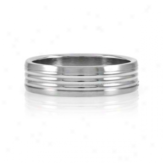 Emitations Nick's Wide Grooved Stainless Steel Men's Ring, 11