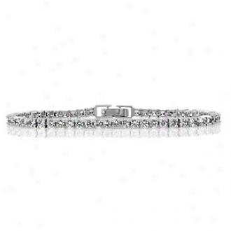 Emitations Paige's Cz Round Cut Tennis Bracelet, Silver Tone