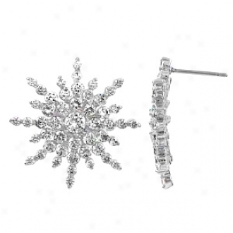 Emitations Raine's Starburst Cz Fancy Knob Earrings, Starburst