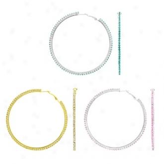 Emitations Reba's Rninestone Hoop Earrings Set Of 3, Gold, Pink Blue