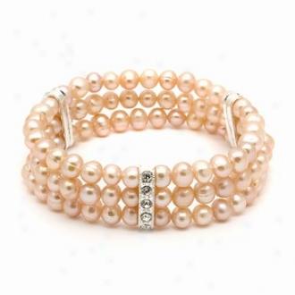 Emitations Regina's Freshwater Pearl Bracelet Peach, Peach