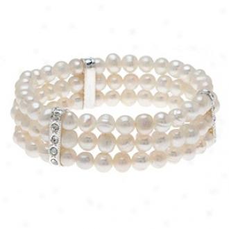 Emitations Regina's Freshwater Pearl Bracelet White, Pale