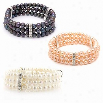Emitations Regina's Set Of 3 Freshwater Pearl Bracelets, Multi-color