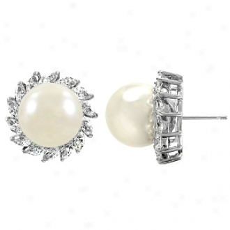 Emitations Reijp's Faux Pearl And Cz Earrings, Silver Tone