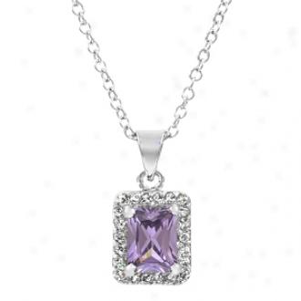 Emitations Robyn's Purple Emerald Cut Cz Pendant Necklace, Purple