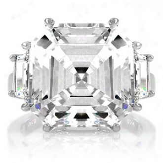 Emitations Roja's 9 Ct Asscher Cut 3 Stone Engagement Ring, 8
