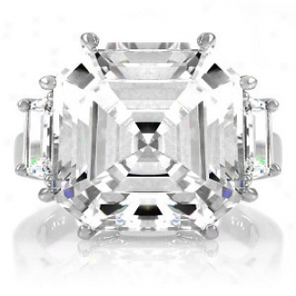 Emitations Roja's 9 Ct Asscher Cut 3 Stone Engagement Ring, 9