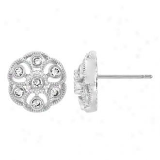 Emitations Rosalba's Cz Vintage Flower Stud Earrings, Silver Tone